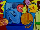 Harpist, oil on canvas, 80x60 cm