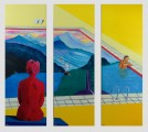 Two Chairs at the Pool, triptych, oil on canvas, 135x120cm, SOLD