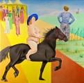 Princess on a black horse, oil on canvas,100 x 100 cm